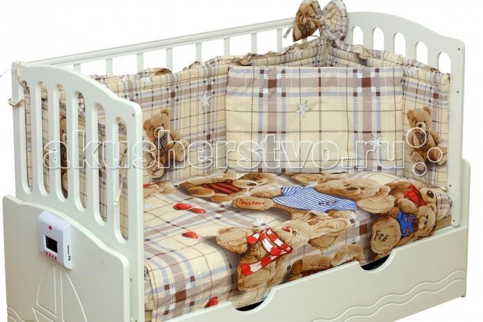 Комплект в кроватку Daka Baby Медвежонок Smiki (7 предметов)Медвежонок Smiki (7 предметов)Эксклюзивный красочный дизайн комплекта постельного белья DakaBaby Медвежонок Smiki позволит малышу окунуться в мир сказочных эмоций.  Кроватка Вашего малыша будет неотразимой и очень уютной. Ведь в комплект входит все необходимое для крепкого и безопасного сна малыша.  Комплект сшит из 100% натуральных материалов с соблюдением высоких стандартов качества.   Характеристики:  Материал: хлопок. Наполнитель: холкон (борта, подушка, одеяло).  Комплектность: балдахин 300х160 см комплект раздельных бортов 360х30 см подушка 40х60 см одеяло 110х140 см простынь 110x150 см наволочка 40x60 см пододеяльник 110х140 см<br>