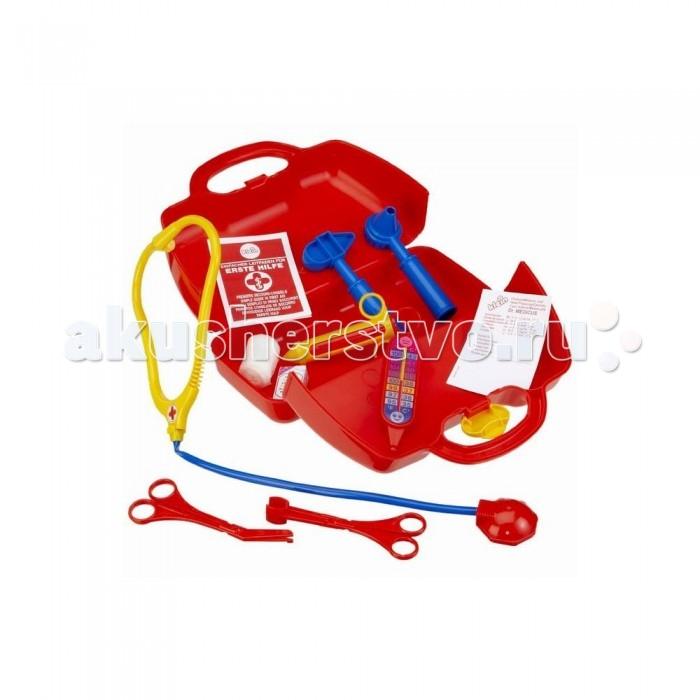 Klein Набор доктора в красном чемоданчикеНабор доктора в красном чемоданчикеKlein Набор доктора в красном чемоданчике в форме трапеции.   В комплекте: чемоданчик, стетоскоп, две пары ножниц, шприц, градусник, молоток невролога, инструмент отоларинголога, бинт, коробочку с лекарством, а также бланки рецептов.  Размеры чемоданчика: 24х11х19 см.<br>
