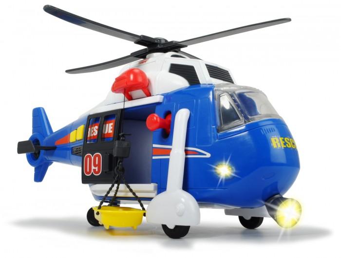 Dickie Вертолет функциональный 41 смВертолет функциональный 41 смDickie Вертолет функциональный 41 см поможет мальчику спасти всех игрушечных персонажей и придумать множество других, игровых сюжетов.   Особенности: Вертолет изготовлен из прочной пластмассы, окрашен в голубой цвет и дополнен характерными для спасательного вертолета надписями.  Он оснащен маленькими подвижными колесами, а также лопастями, расположенными на крыше, которые вращаются самостоятельно.  Двери вертолета открываются, благодаря чему внутри него можно расположить спасательные носилки. Вертолет дополнен световыми и звуковыми эффектами, которые помогут добавить реалистичности в игровой сюжет, и сделать игрушку еще больше похожей на настоящий вертолет.  Питание игрушки происходит при помощи 3 батареек типа АА, которые также можно найти в комплекте.  Такая интересная игрушка в виде спасательного вертолета порадует мальчика и отлично дополнит коллекцию игрушечной транспортной техники.  Длина вертолета: 41 см<br>
