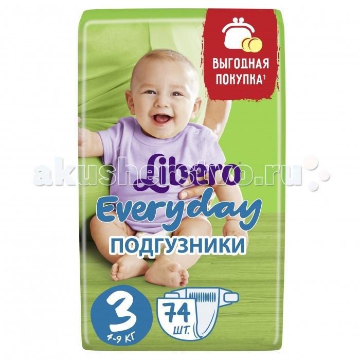 Подгузники Libero Подгузники Everyday Size 3 (4-9кг), 74 шт. одноразовые подгузники libero baby soft midi 4 9кг 70шт
