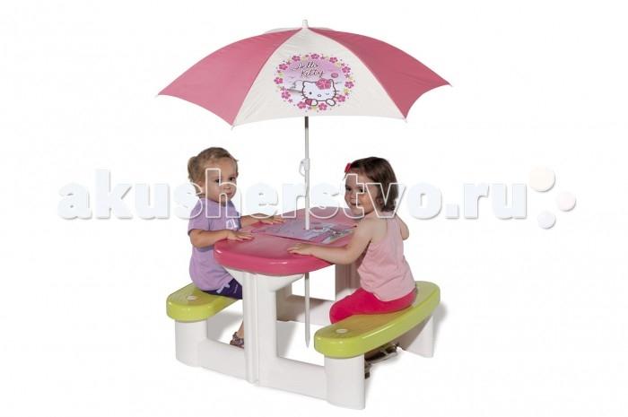 Smoby Столик дл пикника с зонтиком Hello KittyСтолик дл пикника с зонтиком Hello KittySmoby Столик дл пикника с зонтиком Hello Kitty точно понравитс вашей малышке.  Особенности: Столик и две скамеечки представлт собой единое целое.  На самом столике имеетс настольна игра-бродилка с приклченими кошечки Китти, дл игры прилагатс 2 игральных кубика и 2 фишки.  Столик можно установить как дома, так и на улице.  Чтобы защитить ваших детей от палщего солнца или мелкого дождика, в центр можно установить симпатичный тканевый зонтик с изображением Hello Kitty. Конструкци выполнена из упрочненной пластмассы, не выгорает и выдерживает мороз до - 18 градусов.  Размер стола: 74 x 80 x 47 см<br>