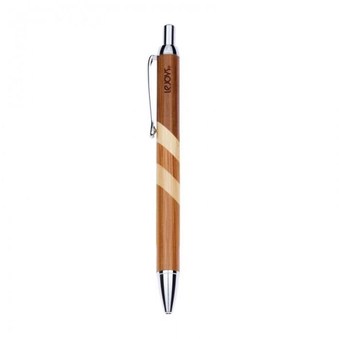 Канцелярия Lejoys Ручка шариковая с клипсой в корпусе из бамбука Черная