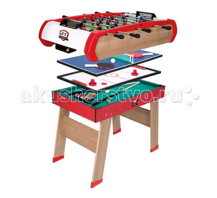 Smoby Игровой стол Power Play 4 в 1Игровой стол Power Play 4 в 1Smoby Настольная игра 4В1 - это полупрофессиональный деревянный стол, который содержит аж 4 настольные игры, рассчитанные на двоих и более людей.  Особенности: Стол очень устойчив, что очень удобно, так как дети в процессе игры обязательно будут очень эмоциональны и они обязательно будут трясти столик. Верхние части стола съемные, самый верхний слой представляет из себя игру в футбол, рассчитанную на игроков в количестве от 2 до 8.  Обе боковые стороны обладают четырьмя рычажками, при помощи которых можно крутить футболистов в той или иной линии, пиная подскочивший мяч. Цель игры в том, чтобы одна команда забила как можно больше голов второй, задача соперника аналогичная. Второй слой представляет из себя теннисный стол небольшого размера, в комплекте имеются 2 ракетки, а также специальный шарик. Такая игра рассчитана максимум на двух человек. Третий слой - это очень увлекательная игра, которая называется аэро-хоккей, она также как и предыдущая рассчитана максимум на двух игроков. Цель игры в том, чтобы забить своему визави больше шайб, нежели чем забьет он. Последний слой - это поле для мини бильярда со всеми комплектующими, такой вид бильярда еще называется пул. Смысл игры в том, чтобы загнать как можно больше шаров в лунку. Играть в нее можно как в одиночку, так и с большим количеством людей.  Размер стола: 120 x 89 x 87 см<br>