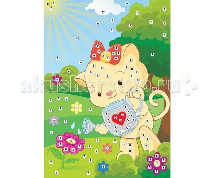 Мозаика Color Puppy Набор для творчества Аппликация Кошечка - садовник 635166 набор для творчества тм vladi раскраски глиттером сова