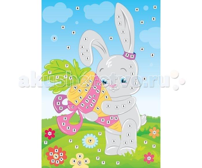 Мозаика Color Puppy Набор для творчества Аппликация Зайка и морковка 635167 мозаика color puppy набор для творчества аппликация кошечка садовник 635166