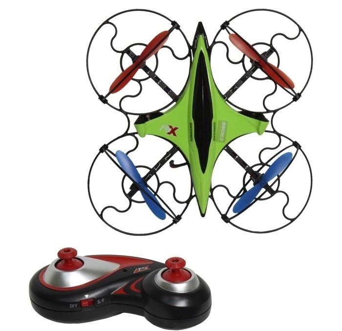 1 Toy Квадрокоптер Gyro-CrossКвадрокоптер Gyro-Cross1 Toy Квадрокоптер Gyro-Cross  Небольшой квадрокоптер Gyro Cross размером 16 см, выполнен в современном технодизайне, джойстик управления стилизован под традиционный геймерский пульт. Модель обладает рядом уникальных функций, которые значительно упрощают взаимовоздействие с квадрокоптером и делают полёт более увлекательным. Функция визуального тримминга (отладка вращения) позволяет быстро и удобно отрегулировать управление моделью: после завершения процедуры настройки, квадрокоптер помигает диодами. Новая уникальная система управления EASY FLY 360° позволяет уверенно и просто управлять квадрокоптером, где бы он не находился – перед пилотом или за спиной. При помощи этой функции, которая активируется в полёте, квадрокоптер всегда будет следовать в том же направлении, что и джойстик пульта управления. Квадрокоптер имеет 2 скоростных режима.  Габариты: (ДхШхВ) 16 х 16 х 2 см Частота управления - 2.4 GHz Зарядное устройство: USB-кабель Зарядка - 25 мин, полёт - 8 мин Радиус действия: 30 метров  Аккумулятор: 3.7V/100mAh Запасные лопасти: 4 шт Пульт работает от 3-х батареек ААА (батарейки в комплект не входят)  Возраст: от 5 лет<br>