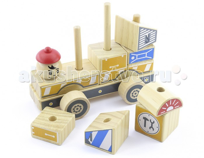 Деревянные игрушки Мир деревянных игрушек (МДИ) Автомобиль-конструктор №3 13 элементов