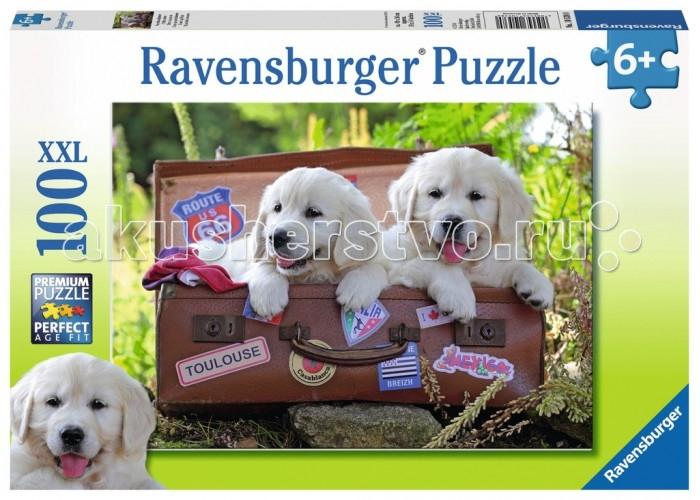 Пазлы Ravensburger Пазл Щенки-путешественники 100 элементов пазл ravensburger белые щенки 14238