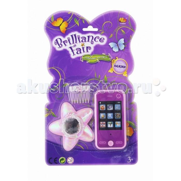 Электронные игрушки Brilliance Fair Телефон в наборе с аксессуарами (зеркало, заколка) со звуковыми эффектами кукла funville brilliance fair с волшебной палочкой