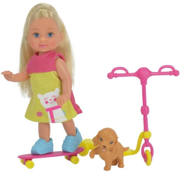 Куклы и одежда для кукол Simba Кукла Еви на скутере + скейт и собачка куклы и одежда для кукол simba кукла еви с малышом на прогулке