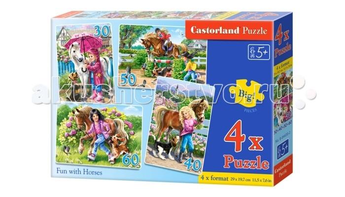 Пазлы Castorland Пазл 4 в 1 Девочка и лошадь 180 элементов castorland пазл трактор 60 элементов