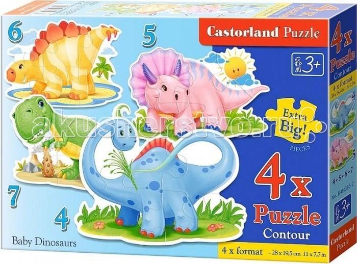 Пазлы Castorland Пазл 4 в 1 Динозаврики 32 элементов пазлы русский стиль пазл напольный динозаврики