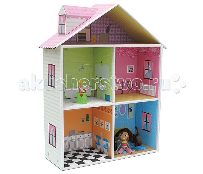Кукольные домики и мебель Krooom Игрушки из картона Кукольный домик с мебелью Мелроуз, Кукольные домики и мебель - артикул:215655