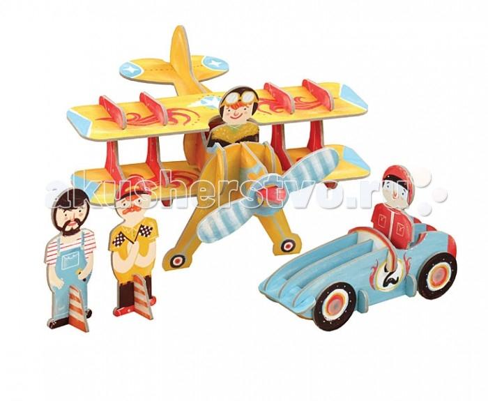 Конструкторы Krooom Игрушки из картона 3D набор Гоночная команда строительная бригада гоночная команда