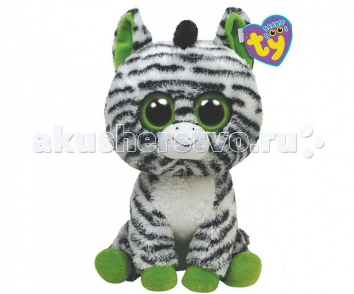 Мягкие игрушки TY Beanie Boos Зебра Zig-Zag 25 см new arrival ty beanie boos big eyes kaola plush toy doll kawaii ty original stuffed animals for children s christmas gifts toys