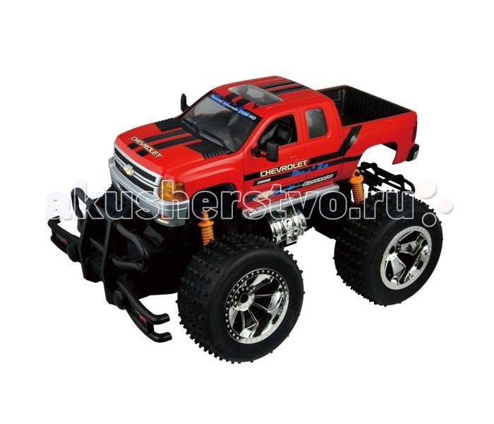 Auldey Машина на батарейках радиуоправляемая Chevrolet-Silverado LC229020-2Машина на батарейках радиуоправляемая Chevrolet-Silverado LC229020-2Chevrolet Silverado - довольно крупный автомобиль, а вот его радиуоправляемая модель в масштабе 1:28 - довольно компактная.  Машинка работает на заднем приводе и развивает среднюю скорость около 9 км/ч.  Она управляется при помощи дистанционного пульта с дальностью действия до 20 м.  Игрушка оснащена системой торможения, блокирующей все четыре колеса. Колеса типа монстр-трак позволяют машине ездить по довольно неровным поверхностям<br>