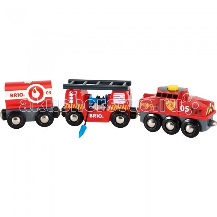 Brio Игровой набор для деревянной ж/д Пожарный поездИгровой набор для деревянной ж/д Пожарный поездИгровой набор Пожарный поезд от шведского бренда Brio - это дополнительная игрушка для деревянной железной дороги от того же бренда, чтобы игра с ней стала еще интересней. Пожарный поезд состоит из двух вагонов и локомотива, которые выполнены очень качественно и имеют интересный дизайн. С таким поездом железной дороге не будут страшны никакие пожары.  Комплектация набора:  3 вагона; Лестница; Водяной шланг.  Особенности:   Размер упаковки: 27 х 5 х 15 см Размер поезда: 24.2 x 3.4 x 4.9 см<br>