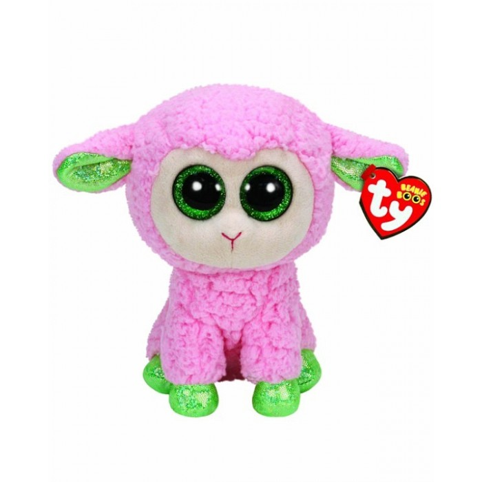 Мягкие игрушки TY Beanie Boos Овечка розовая с зелеными копытцами 25 см ty beanie boos original 6 18cm boom boom the purple panda beanie baby plush stuffed animal collectible soft doll toy kids gifts