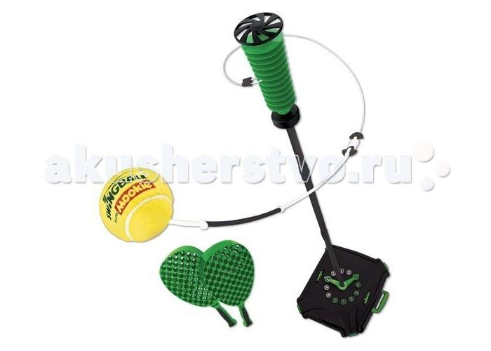 Mookie Набор для тенниса Pro SwingballНабор для тенниса Pro SwingballНабор Pro Swingball от компании Mookie представляет собой сборную стойку с счетоводом на основании, к которой крепится мяч на веревке. Воспользовавшись зеленными ракетками, можно сыграть в своеобразный теннис, угадывая траекторию мячика и развивая скорость своей реакции. В комплект также входит специальная сумка, что облегчает транспортировку и хранение набора.  Комплектация набора:  Кейс для установки стойки и хранения аксессуаров; Элементы сборной стойки; Мяч на веревке; 2 ракетки.  Особенности:   Размеры: 56 х 52 х 44 см Высота стойки регулируемая: 170 см. Вес: 3.3 кг<br>