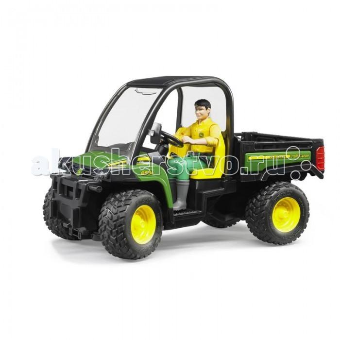 Машины Bruder Мини-самосвал John Deere Gator XUV 855D с фигуркой водителя 02-490 машины tomy трактор john deere 6830