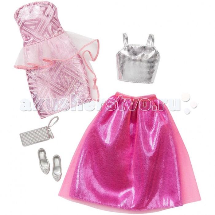 Barbie Комплект одежды для кукол Барби. Розовое платье, белый топ и красная юбка