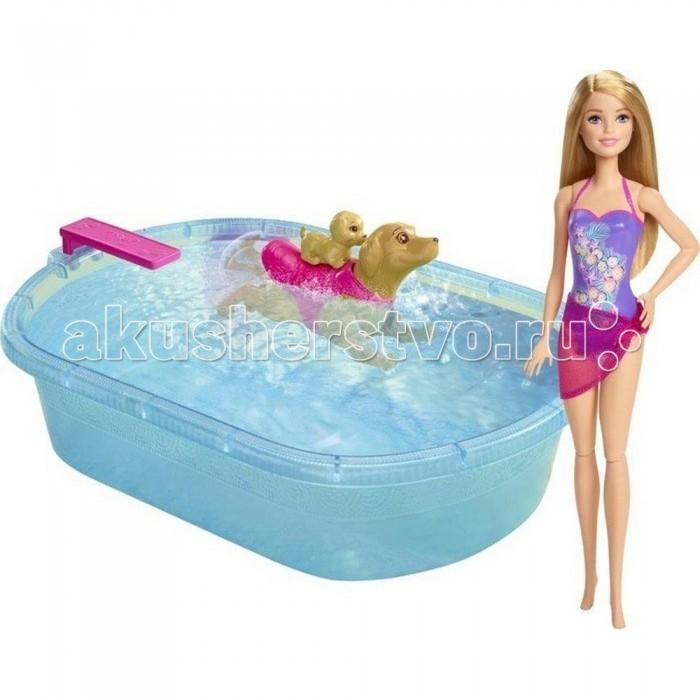 Куклы и одежда для кукол Barbie Набор для купания щенков Барби barbie серебристо розовое платье с аксессуарами барби