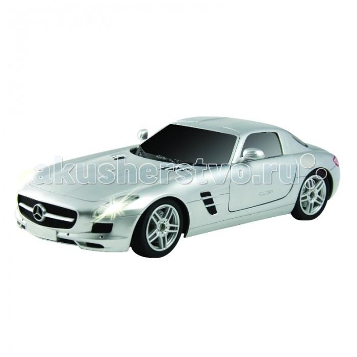 Auldey Машина на батарейках радиуоправляемая Mercedes-Benz-SLS-AMG LC296810-8Машина на батарейках радиуоправляемая Mercedes-Benz-SLS-AMG LC296810-8Полнофункциональная радиоуправляемая модель автомобиля Mercedes-Benz-SLS-AMG серебристого цвета выполнена в весьма реалистичном виде и является практически точной копией настоящего автомобиля.  Обладает способностью передвигаться вперед и назад, влево и вправо, останавливаться.  Автомобиль оснащен по последнему слову игрушечной техники: он имеет профессиональное шасси, полнофункциональный радиоконтроль, свет передних и задних фар, независимую подвеску передних и задних колес, что позволяет ему имитировать маневры настоящей машины.  Радиус действия пульта — не менее 15 м. Скорость — 9 км/ч, в турборежиме — 11 км/ч.  Питание: 2 батарейки типа АА для пульта управления, 4 батарейки типа АА для машинки.  С такой игрушкой можно устраивать импровизированные соревнования машинок как дома, так и на улице.<br>