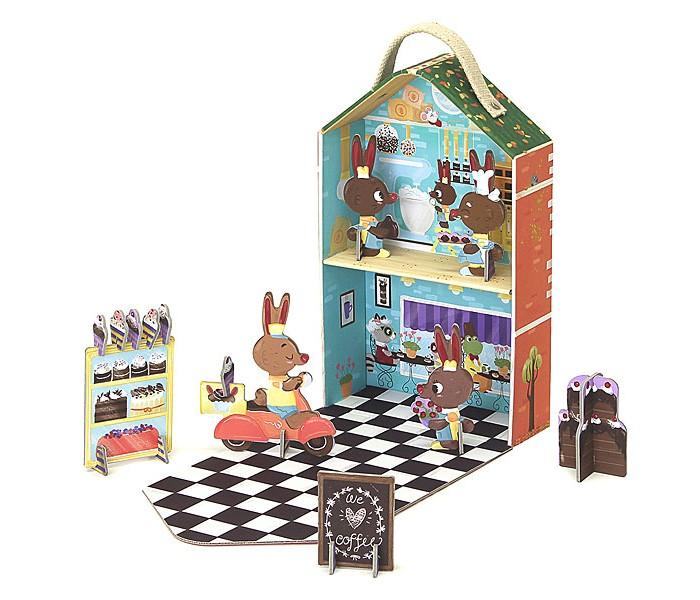 Krooom Игрушки из картона: набор для путешествий Кроличья пекарня