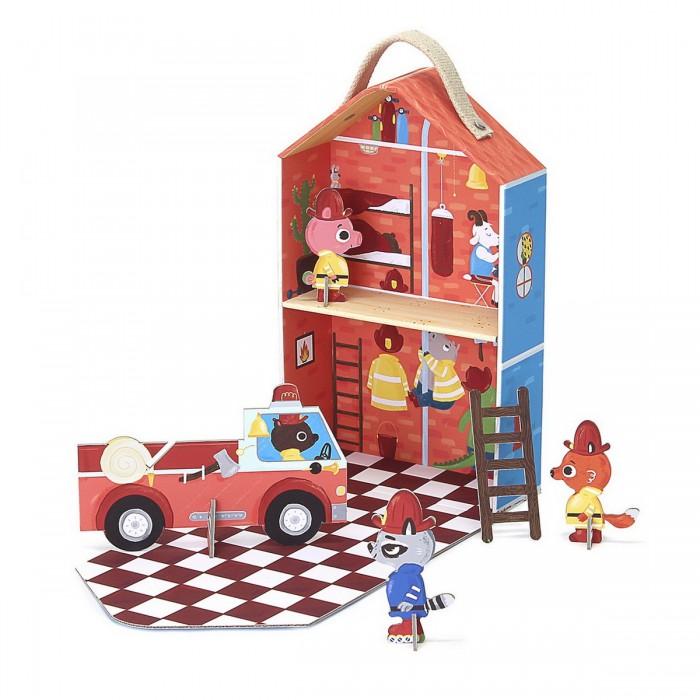 Krooom Игрушки из картона: набор для путешествий Пожарная станция капитана Фьюри