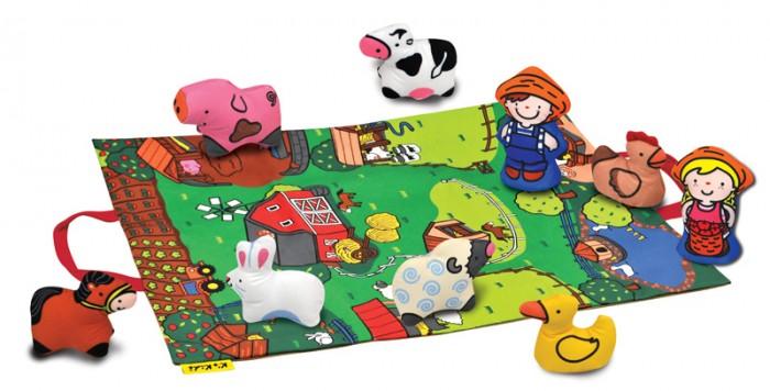 KS Kids Игровой набор Мини фермаИгровой набор Мини фермаKS Kids Мини ферма  Игровое поле-подстилка легко превращается в сумку для хранения игрушек.  В набор входит 7 мягких животных и 2 фермера Каждая игрушка - это или погремушка или пищалка.  Игрушку можно стирать при температуре 30 С.<br>