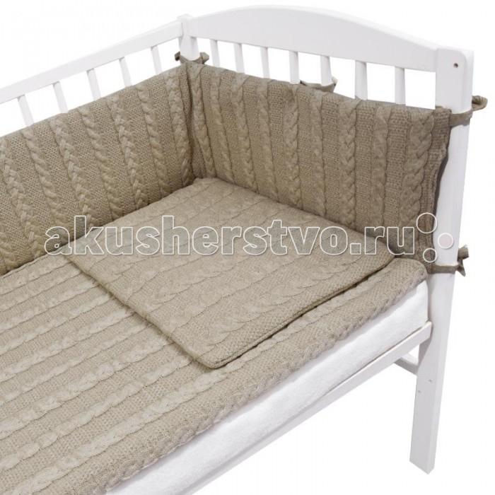 Комплект в кроватку Eko Комплект в кроватку (4 предмета)Комплект в кроватку (4 предмета)EKO Комплект в кроватку (4 предмета)  Данный комплект состоит 4 вязанных предметов: вязаного пледа, подушки и бортиков с завязочками, с помощью которых их можно закрепить на стенках детской кроватки. Также в кроватку можно будет повесить кармашек.   В нем ребенок сможет хранить игрушки или другие вещи небольшого размера, например, пижаму. Комплект в детскую кроватку выполнен в нейтральном цвете, который подойдет и мальчику, и девочке.  Комплект: подушка, одеяло, бампер, органайзер. Состав: хлопок, акрил, полиэстер. Размер пододеяльника: 120 х 90 см. Размер бампера: 180 х 35 см. Размер подушки: 40 х 60 см. Размер органайзера: 45 х 27 см.<br>