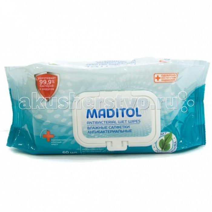 Салфетки Maditol Влажные салфетки антибактериальные Подорожник 60 шт.