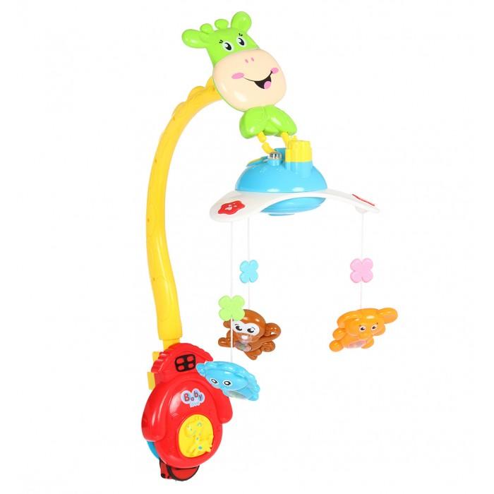 Мобиль Fivestar Toys с функцией проектора и пультом Beilexingс функцией проектора и пультом BeilexingМобиль Fivestar Toys с функцией проектора и пультом Beilexing   Особенности   Мобиль подходит для любых детских кроваток и легко устанавливается на бортик при помощи специального крепления, выполненного в виде домика.   Три подвесные игрушки-погремушки в виде слоника, львенка и обезьянки крепятся к корпусу и медленно кружатся на карусели под приятную музыку.   Изделие может проигрывать 10 спокойных мелодий без слов.   В мобиле сверху есть встроенный проектор, который отображает на потолок цветную картинку с тремя медвежатами.   В модели предусмотрена возможность включить музыку без светового сопровождения.   Картинка вращается вместе с игрушками.   На корпусе мобиля имеются функциональные кнопки, отвечающие за включение-выключение карусели, громкость музыки или ее отключение, а также за включение проектора.   Включать и выключать мобиль можно при помощи дистанционного пульта управления.   Тип батареек: 5 х АА<br>