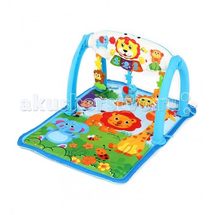 Развивающий коврик Fivestar Toys Fun Lion gym 5 in 1Fun Lion gym 5 in 1Игровой развивающий коврик Fivestar Toys Fun Lion gym 5 in 1 со звуковыми и световыми эффектами непременно придется по душе вашему малышу.   Все элементы набора выполнены из безопасных для детского здоровья материалов.   Тип батареек: 2 x AA<br>