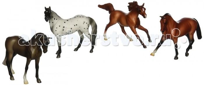 Игровые фигурки Breyer Набор из 4-х лошадей спортивных пород игрушка для животных каскад барабан с колокольчиком 4 х 4 х 4 см
