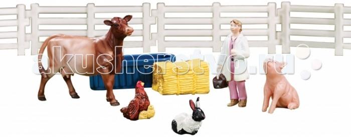 Breyer Игровой набор Визит ветеринараИгровой набор Визит ветеринараВсе животные линейки Stablemates являются игровыми моделями. Это не только лошади, но и быки, ламы, кошки и собаки, которые, несмотря на свои миниатюрные размеры, похожи на реальных животных. Яркие и красивые, сделают первое знакомство ребенка с миром домашних животных веселым и запоминающимся.    Набор Визит ветеринара включает: фигурка ветеринара корова свинка кролик курица заборчик поилка сено     Фигурки изготовлены из высококачественных материалов, экологичны и абсолютно безопасны.     Размер коровы В х Д - 4 х 6 см<br>