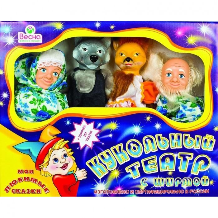 Весна Кукольный театр 4 персонажа с ширмой №1