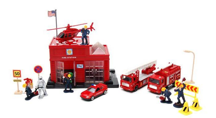 Машины MotorMax Пожарная станция 20 предметов машины majorette парковка пожарная станция cratix вертолет машинка