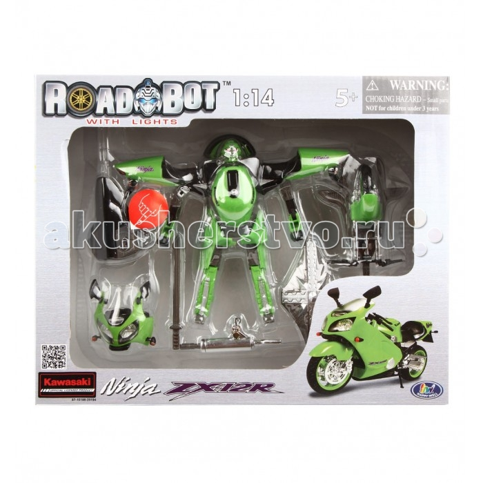 Электронные игрушки Happy Well Робот-трансформер Roadbot Kawasaki Ninja ZX12R 1:14 cnc billet adjustable footpeg racing rearset rear set for kawasaki ninja zx14 zx 14r zzr1400 2006 07 08 09 10 11 12 13 2014black