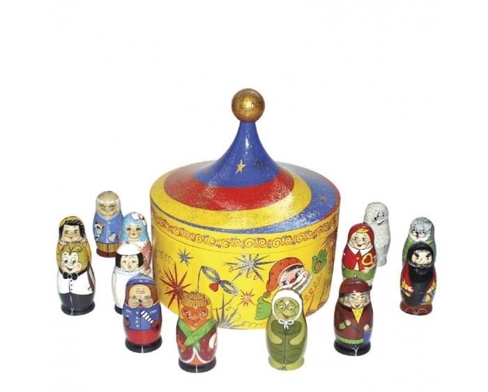 Деревянная игрушка Хохлома Счетный материал Буратино с коробкой фото