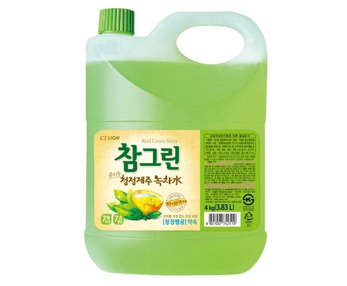Бытовая химия CJ Lion Средство для мытья посуды Chamgreen С ароматом зеленого чая 3830 мл средство для мытья посуды fruit acidic fresh с ароматом зеленого яблока 600 мл