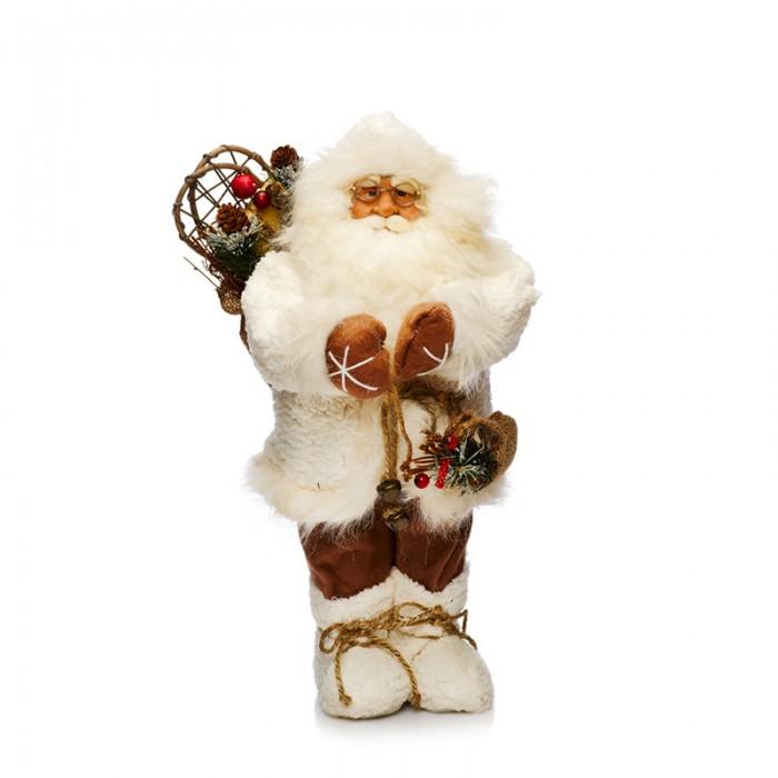 Maxitoys Фигура Дед Мороз в Белой Шубе с Мешком 45 смФигура Дед Мороз в Белой Шубе с Мешком 45 смДед Мороз - большая рождественская фигурка, без которой практически невозможно представить себе ни один новогодний праздник.   Конечно же, в мешке этот вестник наступающего года несет подарки (правда декоративные).  Выглядит очень естественно, со множеством мелких деталей. Отлично встанет под новогоднюю елку.   Высота Фигуры - 45 см<br>