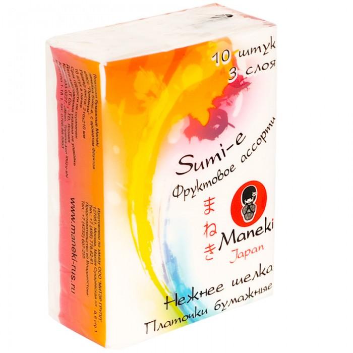 Салфетки Maneki Платочки бумажные Sumi-e с ароматом фруктов 10 х 10 шт. пакеты бумажные lefard 73 545 23 х 18 х 9 см 10 шт
