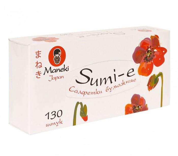 Фото - Салфетки Maneki Салфетки бумажные Sumi-e белые 2 слоя 130 шт. maneki салфетки бумажные dream двухслойные цвет голубой 200 шт