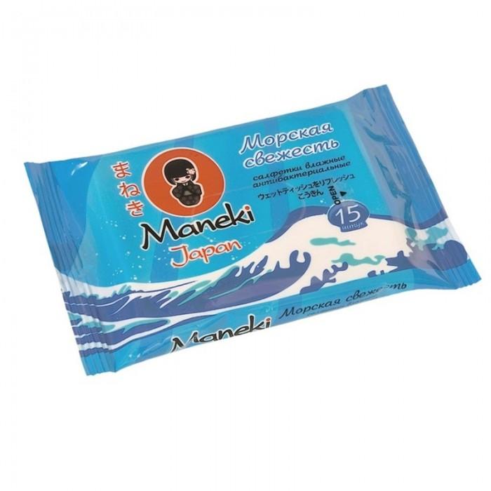 купить Салфетки Maneki Влажные салфетки Kaiteki антибактериальные Морская свежесть 15 шт. дешево