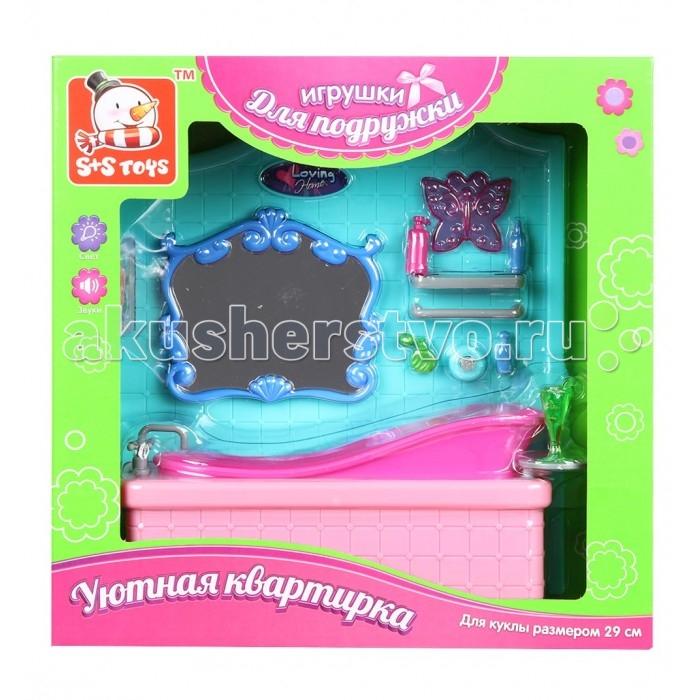 Кукольные домики и мебель S+S Toys Мебель для куклы в наборе на батарейках Ванная комната мебель для кухни