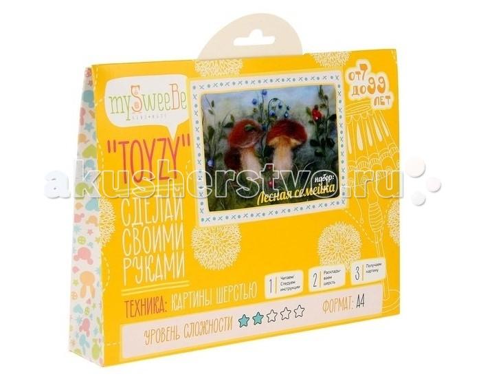 Картины своими руками ToyzyKit Набор Картина шерстью Лесная семейка Формат А4