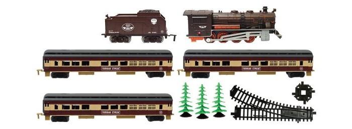Голубая стрела Железная дорога Паровоз с четырьмя вагончиками 600 см