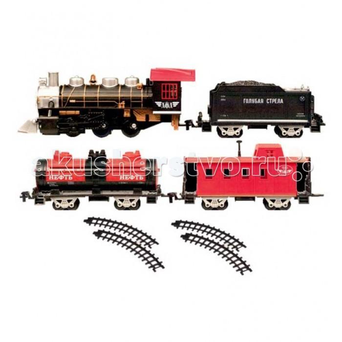 Голубая стрела Железная дорога с тремя вагончиками 184 см 87162Железная дорога с тремя вагончиками 184 см 87162Железная дорога Голубая стрела паровоз с тремя вагончиками  Три различных варианта сборки железнодорожного полотна, паровоз с дымом и подсветкой, грузовые вагоны и один пассажирский делают эту игрушечную железную дорогу универсальной.  Комплект, состоящий из восхитительного локомотива, тендера с углем, пассажирского вагона и цистерны, элементов дороги, хорош не только внешним видом, но и функциональным содержанием. Погрузиться в игру с этой железной дорогой можно на долгие часы.  Общая длина дороги – 184см (колея 33 см ) Благодаря стрелкам (в комплекте) на дороге, можно самостоятельно регулировать направление поезда.   В комплекте:    Локомотив – 1 шт.  Тендер с углем – 1 шт.  Цистерна – 1 шт.  Пассажирский вагон – 1 шт.  Прямой элемент пути – 4 шт.  Сегмент пути – 10 шт.  Стрелка – 2 шт.   Работает он от 4 элементов питания, типа АА. Игрушка развивает воображение, фантазию, пространственное мышление, творческие способности.<br>