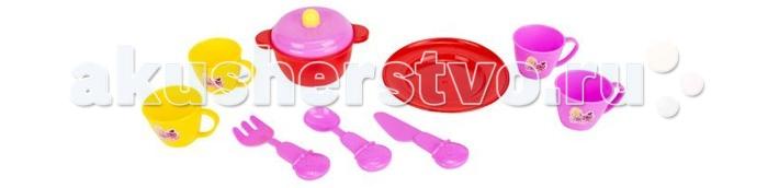 Кукольные домики и мебель Игруша Набор посуды в сетке кукольные домики и мебель letoyvan бутон розы ванная